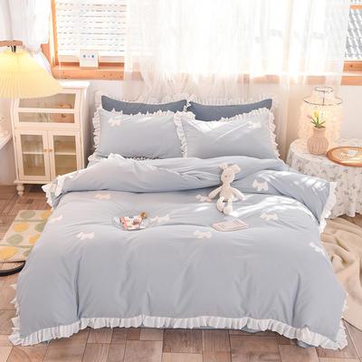 2021新款-水洗棉贴布刺绣花边四件套 1.5m床单款四件套 小萌狗-浅蓝
