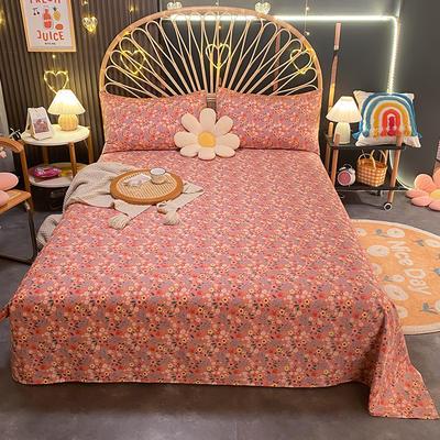 2021新款13372全棉印花床单三件套 160*230cm单床单 姹紫嫣红