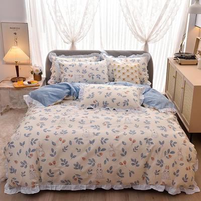 2021新款全棉裙边款印花四件套 1.5m床单款四件套 萌萌兔-花边款