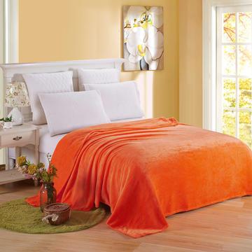纯色-素色法兰绒毛毯 1.0*1.4m 橙色