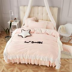 宝宝绒升级版  丽婴绒四件套六件套七件套可选  婴儿级别权威认证 1.5m床裙款 love 粉白