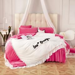 宝宝绒升级版  丽婴绒四件套六件套七件套可选  婴儿级别权威认证 1.5m床裙款 love 玫红