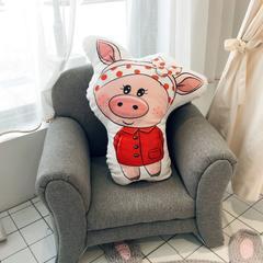 2019新款红黄美眉小猪抱枕 45x45cm 美眉脸(红色)