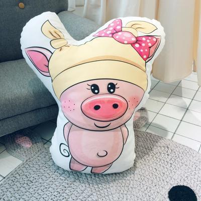 2019新款红黄美眉小猪抱枕 45x45cm 奶娃猪(黄色)