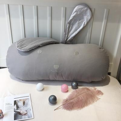 2019新款全棉加厚磨毛-长耳朵兔 100cm*50cm 灰色长耳朵兔