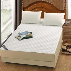 凯曼家纺 新品  纯色全棉纯棉夹棉床垫 保护套加棉床笠防滑床垫 加厚防尘床罩 90*200/300克重夹棉层 白色
