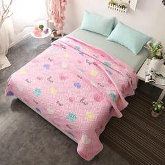 2018新款水洗棉夹棉床盖小猪佩奇床盖 200cmx230cm 爱心-粉