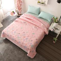 2018新款水洗棉夹棉床盖小猪佩奇床盖 200cmx230cm 彩虹-玉