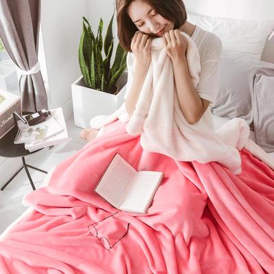 2018新款-北极暖绒双层毛毯 150*200cm 西雅图粉