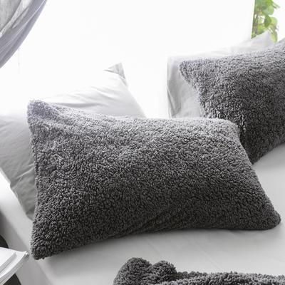 2018新款-羊羔绒多功能单枕套 48*74cm/对标准款 典雅灰