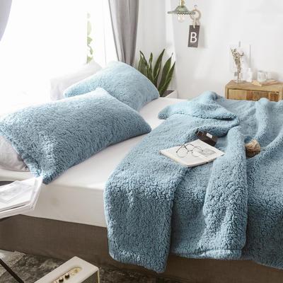 2018新款-羊羔绒多功能单枕套 48*74cm/对标准款 优雅蓝