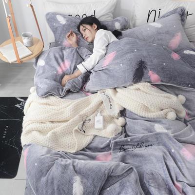 2019新款ins牛奶绒四件套金貂绒水晶绒法莱绒床单款床裙式法兰绒珊瑚绒 标准1.5m-1.8m床 安达曼羽毛