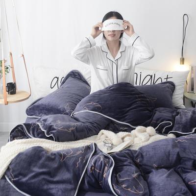 2019新款ins牛奶绒四件套金貂绒水晶绒法莱绒床单款床裙式法兰绒珊瑚绒 标准1.5m-1.8m床 北海道