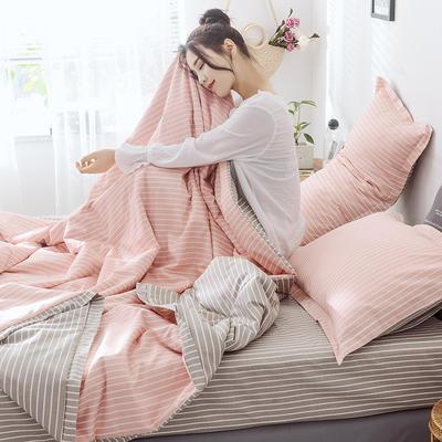 2019新款全棉多功能夹棉四件套ins北欧风网红款全尺寸纯棉三件套床品被套 枕套/对 可可粉