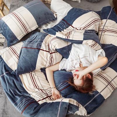 2019新款双面牛奶绒四件套加厚水晶绒法莱绒床裙款法兰绒 1.8m床四件套(床单款) 艾格
