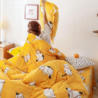 2019新款双面牛奶绒四件套加厚水晶绒法莱绒床裙款法兰绒 1.2m床三件套(床单款) 萌猫日记