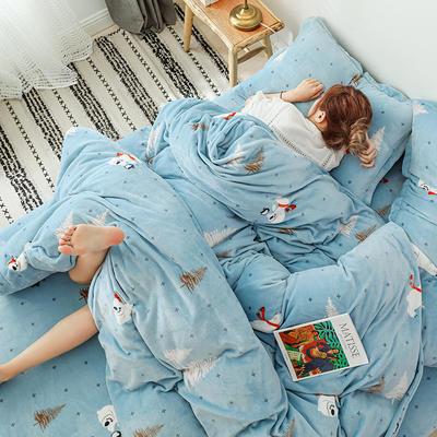 2019新款双面牛奶绒四件套加厚水晶绒法莱绒床裙款法兰绒 1.2m床三件套(床单款) 森林趣味