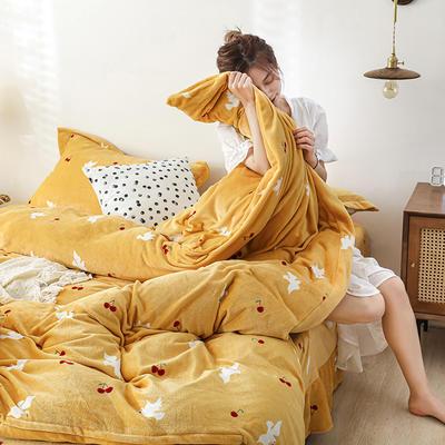2019新款双面牛奶绒四件套加厚水晶绒法莱绒床裙款法兰绒 1.8m床四件套(床单款) 信鸽