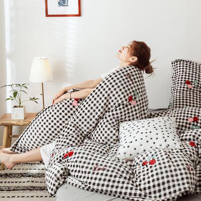 2019新款双面牛奶绒四件套加厚水晶绒法莱绒床裙款法兰绒 1.8m床四件套(床单款) 樱桃红