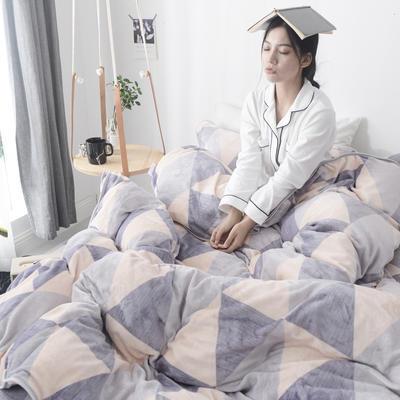 2019新款牛奶绒+精致包边工艺四件套 1.8m床四件套(床单款) 小时代-蓝