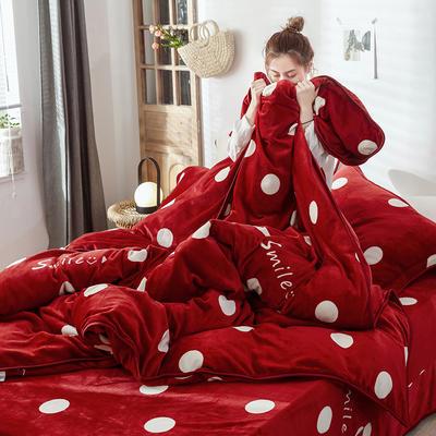2019新款牛奶绒+精致包边工艺四件套 1.8m床四件套(床单款) 波点红