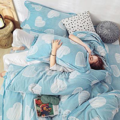 2019新款牛奶绒精致包边工艺四件套法莱绒珊瑚绒床裙款水晶绒金貂绒 1.5m床四件套(床单款) 动人心弦
