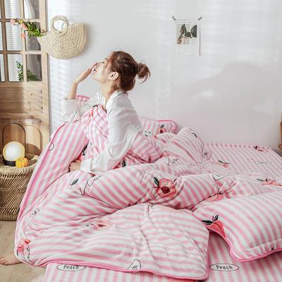 2019新款牛奶绒+精致包边工艺四件套 1.2m床三件套(床单款) 蜜之桃