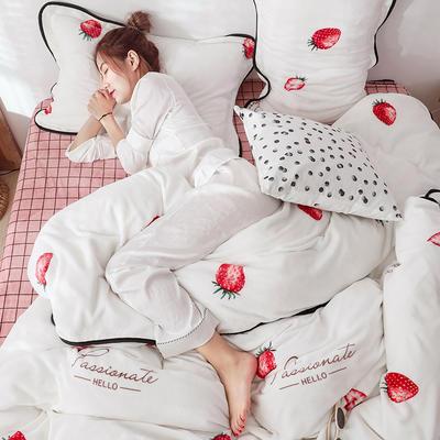 2019新款牛奶绒+精致包边工艺四件套 1.8m床四件套(床单款) 一见钟情
