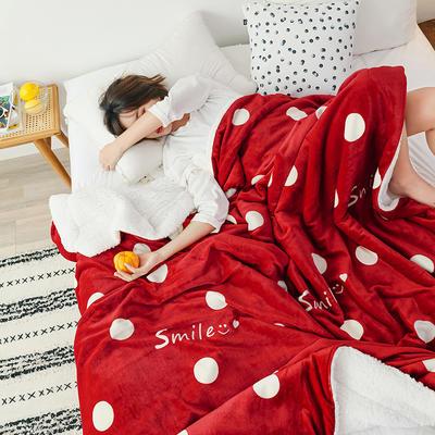 2019新款网红款印花羊羔绒双层毛毯 100x120cm 波点红