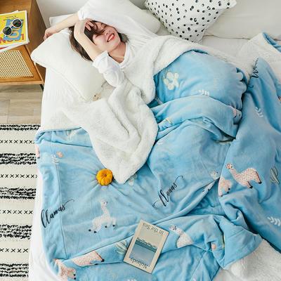2019新款网红款印花羊羔绒双层毛毯 100x120cm 多可爱