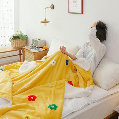 2019网红款印花羊羔绒双层毛毯ins风少女心加厚抗静电牛奶绒毯 150x200cm 泫雅情调黄