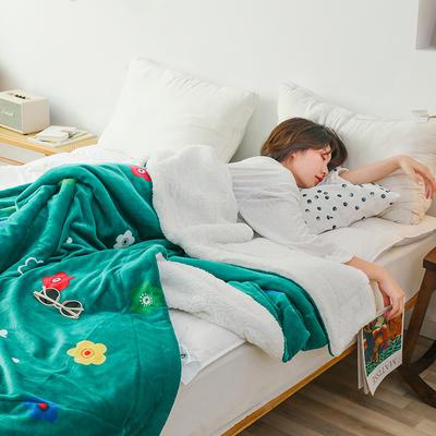 2019网红款印花羊羔绒双层毛毯ins风少女心加厚抗静电牛奶绒毯 150x200cm 泫雅情调绿