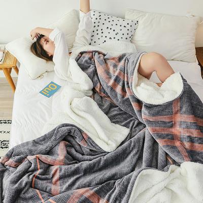 2019网红款印花羊羔绒双层毛毯ins风少女心加厚抗静电牛奶绒毯 150x200cm 印象生活