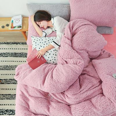 2019新款羊羔绒多功能四件套ins北欧网红款保暖纯色床品被套 1.5m三件套(一个被套2个枕套) 心动粉