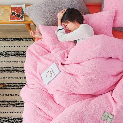 2019新款羊羔绒多功能四件套ins北欧网红款保暖纯色床品被套 1.5m三件套(一个被套2个枕套) 樱花粉