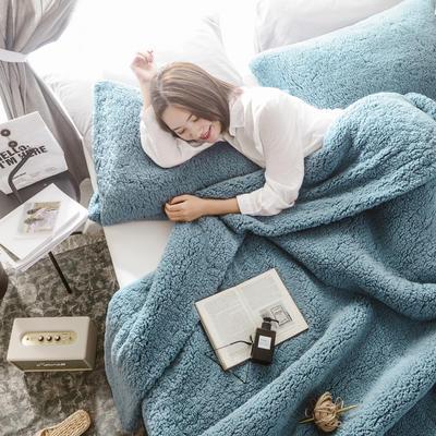 2019新款羊羔绒多功能三件套 48*74cm枕套/对 优雅蓝