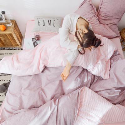 2019新款全棉多功能夹棉四件套ins北欧风网红款全尺寸纯棉三件套床品被套 枕套/对 至简粉