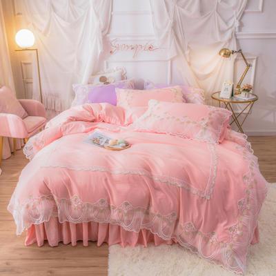 网红款蕾丝花边床裙款水洗棉四件套少女心粉色公主风春夏床上用品 被套150*200cm 床单180*230cm 枕套一只 仙女粉