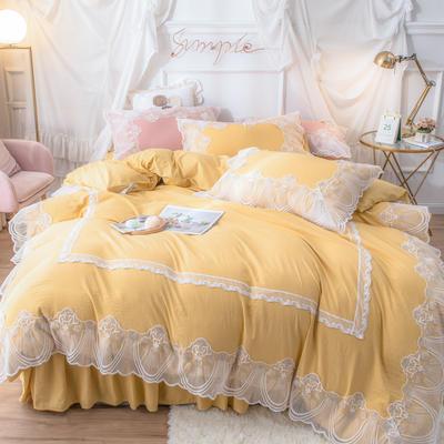 网红款蕾丝花边床裙款水洗棉四件套少女心粉色公主风春夏床上用品 被套150*200cm 床单180*230cm 枕套一只 暖阳黄