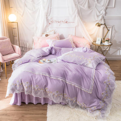 网红款蕾丝花边床裙款水洗棉四件套少女心粉色公主风春夏床上用品 被套150*200cm 床单180*230cm 枕套一只 苏菲紫