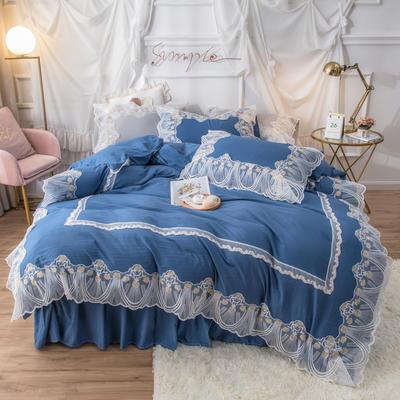 网红款蕾丝花边床裙款水洗棉四件套少女心粉色公主风春夏床上用品 被套150*200cm 床单180*230cm 枕套一只 湛海蓝
