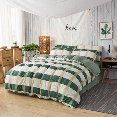 斜纹水洗棉四件套 无印良品风格四件套 斜纹加厚四件套四季适用 标准1.5m-1.8m床 安纳西绿