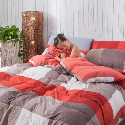 斜纹水洗棉四件套 无印良品风格四件套 斜纹加厚四件套四季适用 标准1.5m-1.8m床 巴塞红