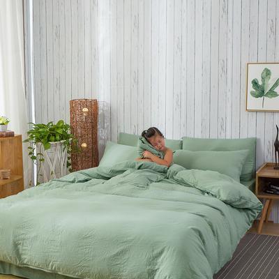 斜纹水洗棉四件套 无印良品风格四件套 斜纹加厚四件套四季适用 标准1.5m-1.8m床 珊瑚绿