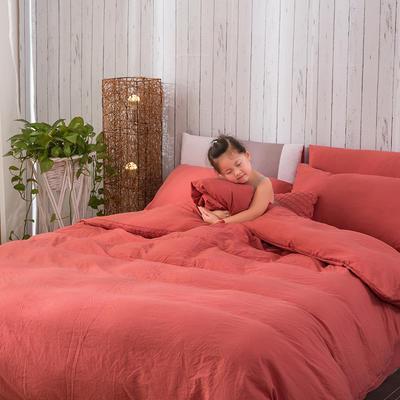 斜纹水洗棉四件套 无印良品风格四件套 斜纹加厚四件套四季适用 标准1.5m-1.8m床 西瓜红