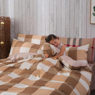 斜纹水洗棉四件套 无印良品风格四件套 斜纹加厚四件套四季适用 标准1.5m-1.8m床 自由风咖