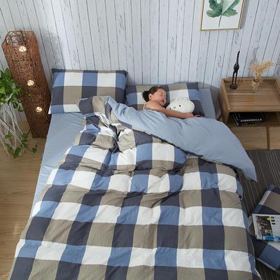 斜纹水洗棉四件套 无印良品风格四件套 斜纹加厚四件套四季适用 标准1.5m-1.8m床 自由风蓝