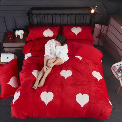双面水晶绒四件套 标准1.5m-1.8m床 爱心-大红