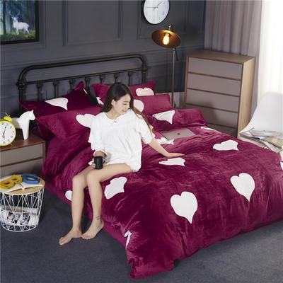 双面水晶绒四件套 标准1.5m-1.8m床 爱心-酒红