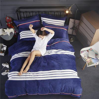 双面水晶绒四件套 标准1.5m-1.8m床 流光溢彩-蓝